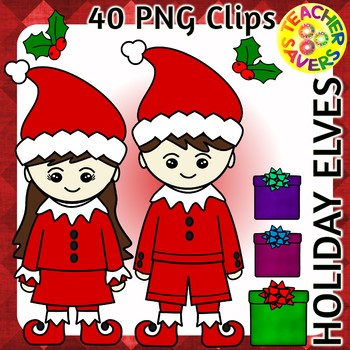 Holiday Elf Clip Art Set Commercial and Personal Use