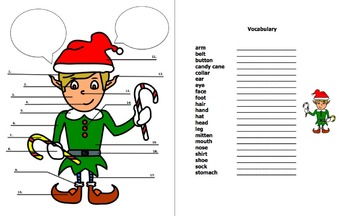Holiday Elf Clothing and Body Parts Words Activity for Any Language