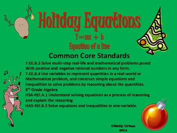 Holiday Equations with CCSS