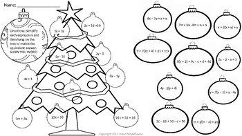 Holiday Equivalent Expressions with CCSS