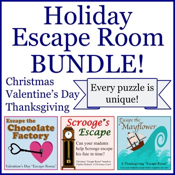 Holiday Escape Room Bundle (NO PREP / MIN. PREP)