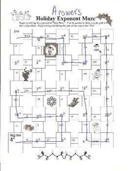 Holiday Exponent Maze