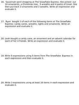 Holiday Expressions Activity Sheet