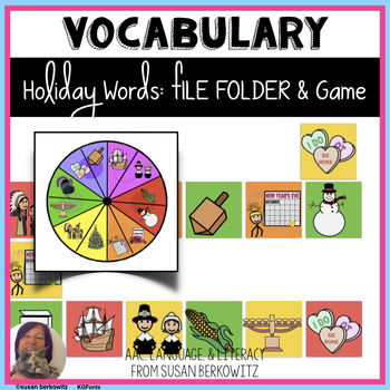Holiday FIle Folder Vocabulary Match and Game _ autism _ s