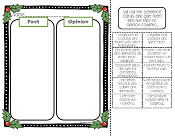 Holiday Fact & Opinion Freebie Activity