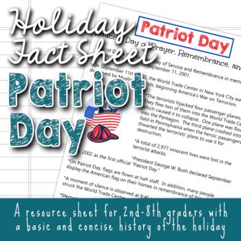 Holiday Fact Sheet - Patriot Day September 11th