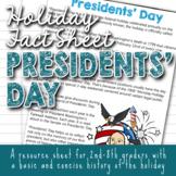 Holiday Fact Sheet - Presidents' Day
