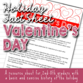 Holiday Fact Sheet - St. Valentine's Day/ Feast of Saint V