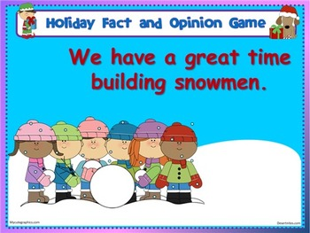 Holiday Fact and Opinion Game