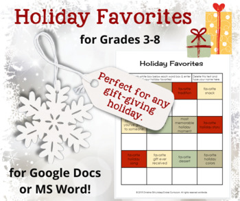 Holiday Favorites--A Microsoft Word and/or GOOGLE DOCS Act