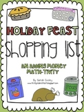 Holiday Feast Shopping List:  An Adding Money Math-tivity