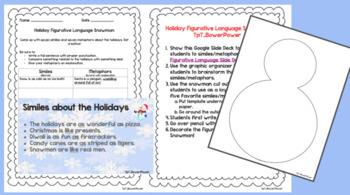 Holiday Figurative Language Snowman