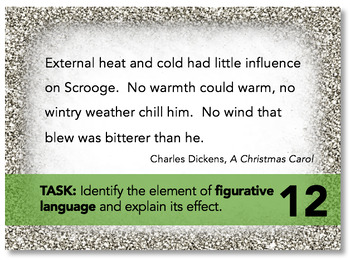 Holiday Figurative Language Task Cards: Christmas Activity, Bell-Ringers