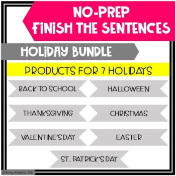 Holiday Finish The Sentences No-Prep Activities BUNDLE!!