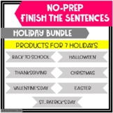 Holiday Finish The Sentences No-Prep Activities BUNDLE!!