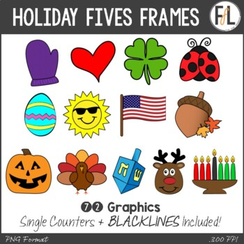 Holiday Five Frames Clipart