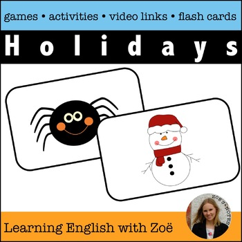 Holiday Flash Cards,  Activities, and Games for English Language Learners
