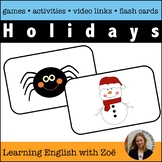 Holiday Flash Cards,  Activities, and Games for English La