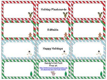 Holiday Flashcards (editable)