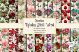 Holiday Floral Wood Digital Paper