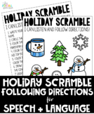 Holiday Following Directions Activity for Speech and Language (NO PREP)