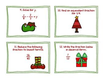 Holiday Fraction Task Cards - VA Math SOL 5.2