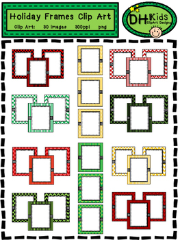 Holiday Frames - Christmas Clip Art Frames - Personal and Commercial Use