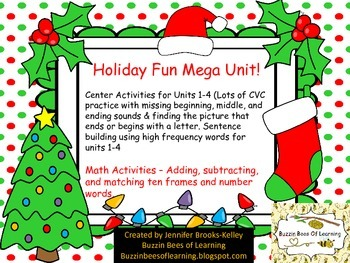Holiday Fun Mega Unit for Kindergarten Math and Literacy