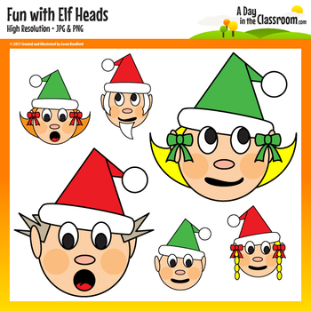 Holiday Fun with Elf Heads Clip Art Graphics