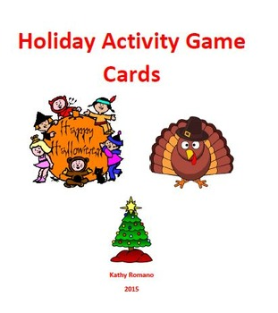 Halloween Thanksgiving Christmas Clipart.Holiday Game Cards Halloween Thanksgiving Christmas