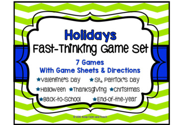 Holiday Game Set: 7 Different Scattergories Games for Grades 3-12
