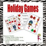 Christmas Games - Bingo, Concentration, & Vocabulary Development