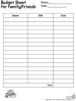 Holiday Gift Budget Center – Real Life Math Activity
