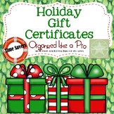 Holiday Gift Certificates for Students