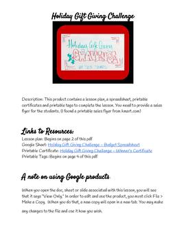 Holiday Gift Giving Challenge