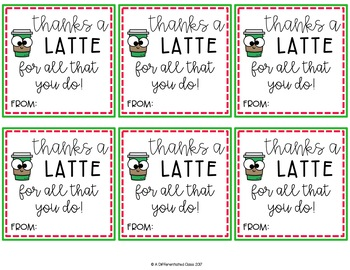 Holiday Gift Tags- Thanks a Latte