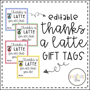 photo regarding Thanks a Latte Printable Tag identify \