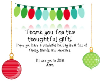 Editable Holiday Gift Tags and Thank You Notes