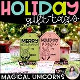 Holiday Gift Tags with Magical Christmas Unicorns
