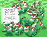 """Holiday Gradient Alphabet Clip Art  /  90 pcs - 3"""" High, Vector PDF and PNGs"""