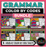 Holiday Grammar Color By Code Activities   Holiday Parts o