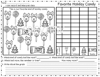 Holiday Graphing ~ Record and Interpret Data ~ Christmas Themed