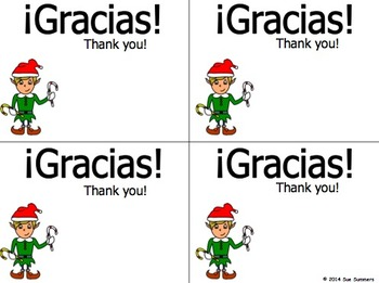 Holiday Thank You Cards - Spanish and Bilingual 5 Designs of Each