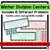 Division Math Center Hands On with Manipulatives - Winter
