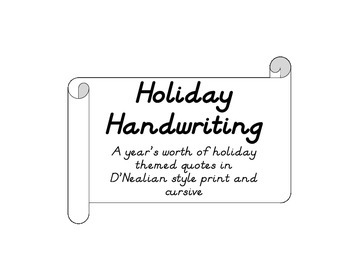 Holiday Handwriting Practice D'Nealian Style