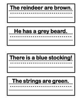Holiday Handwriting Sentences