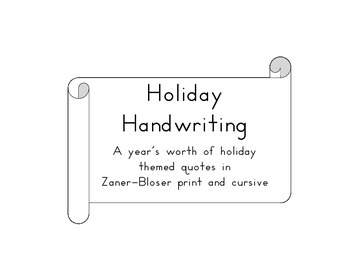 Holiday Handwriting Zaner-Bloser Style