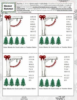 Holiday Hangman - Christmas Theme Partner Game for Differentiated Review