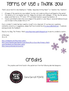 Holiday Happiness Writing Paper-FREEBIE