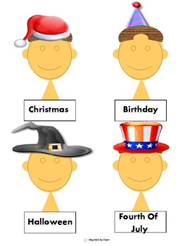 Holiday Hats & Clothes Match/Cut and Paste for Autism